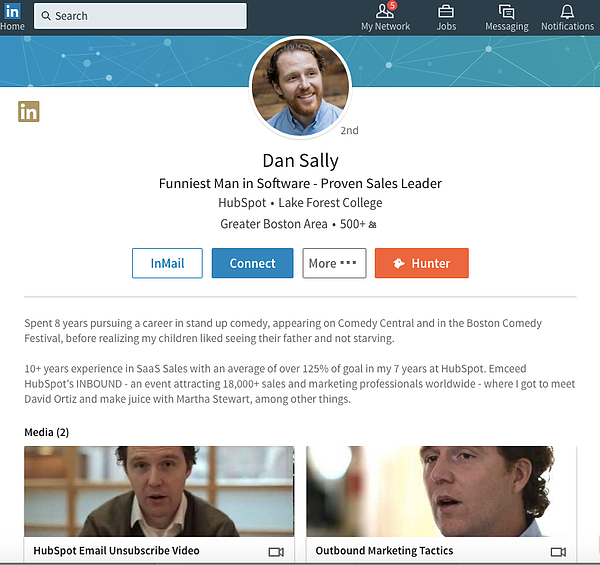dan sally sales linkedin summary example