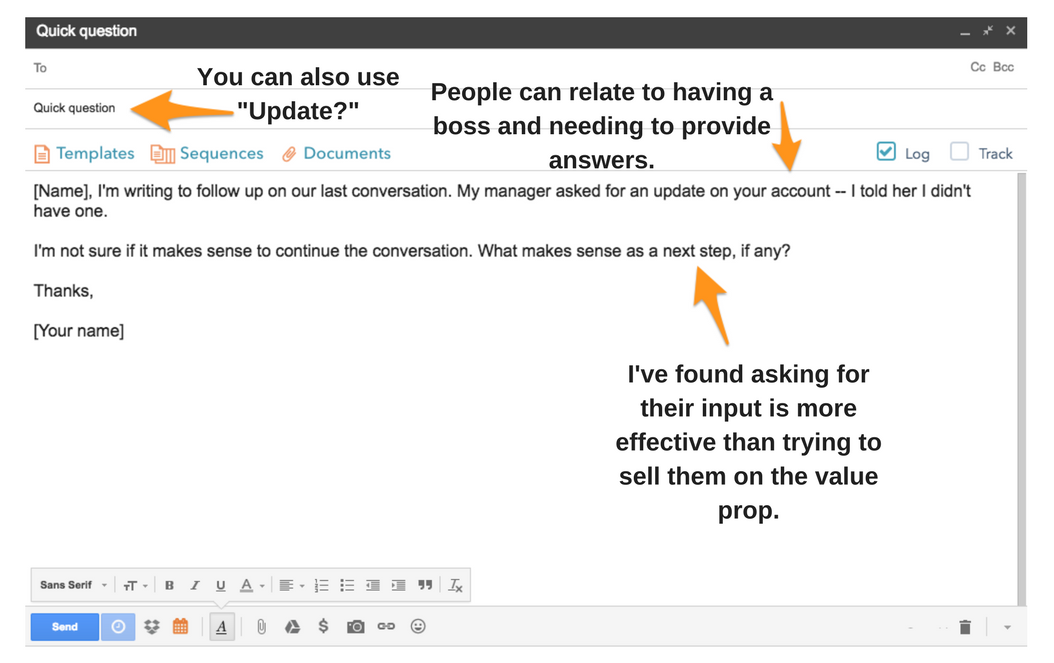 how to send follow up email quote