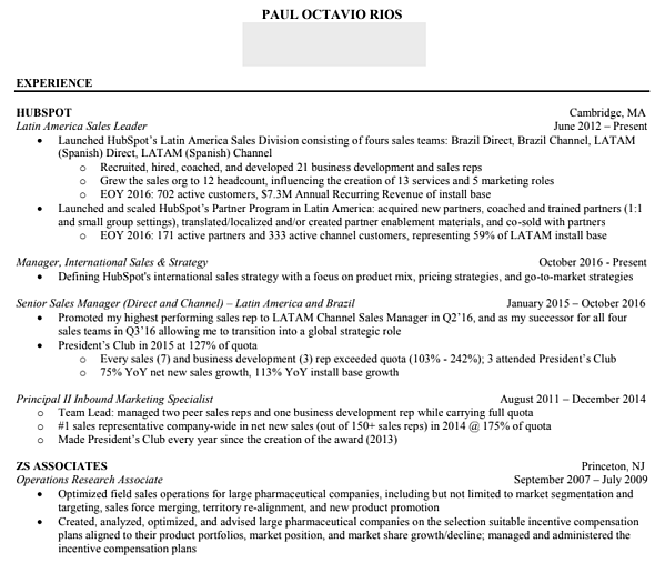 Sales resume examples from successful hubspot reps sales resume advice altavistaventures Gallery
