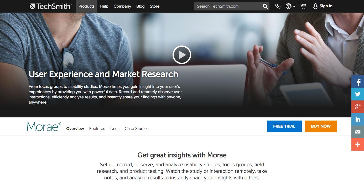 Homepage of Morae