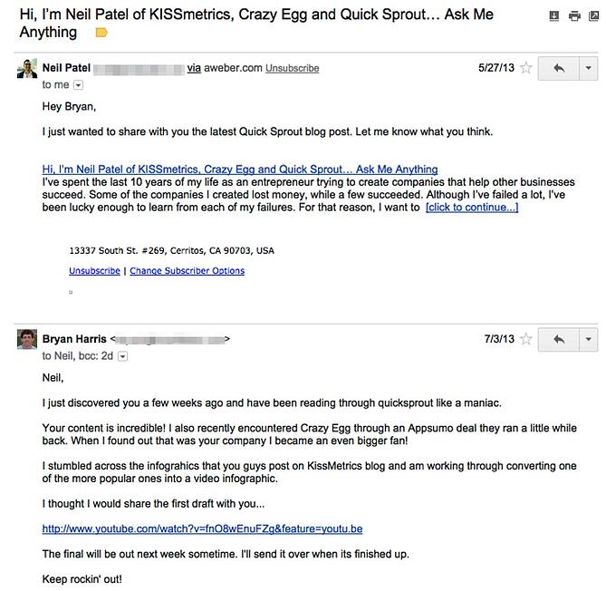 How to write a perfect cold outreach email 5 elements to consider by responding to the newsletter harris is showing that he is a true fan of patel and his work most marketers cater to their newsletter subscribers first pronofoot35fo Images
