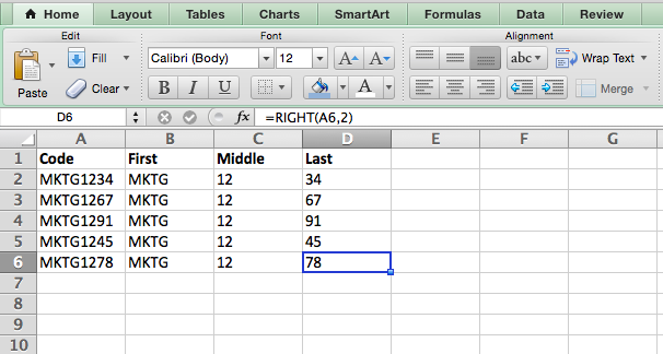 RIGHT formula in EXCEL
