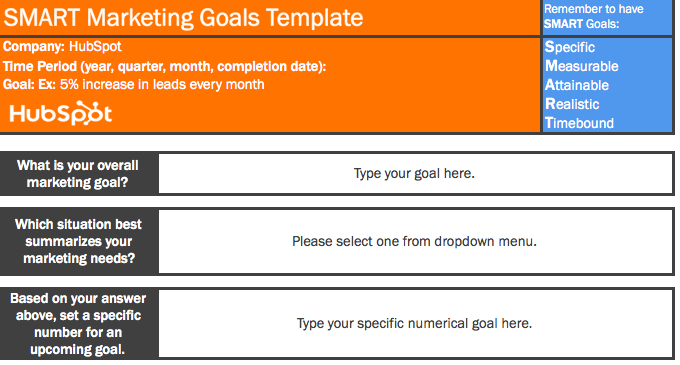 smart marketing goals template in excel that includes slots for time period and numerical metric