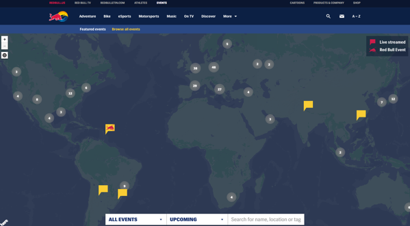 Red Bull website showing global map of extreme sports events