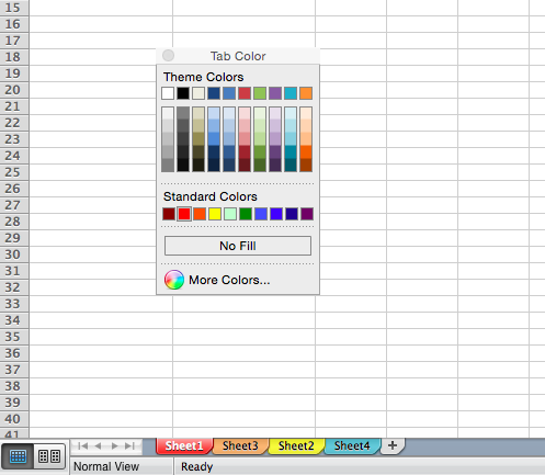 Customize the color of your tabs in Excel