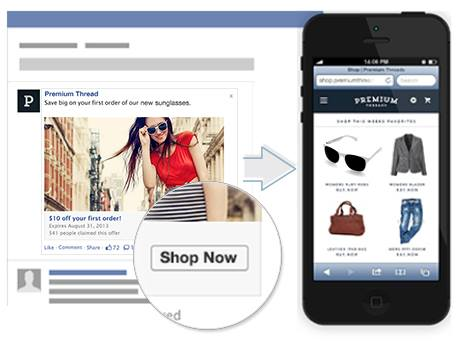 Facebook Ad with link to Shop Now