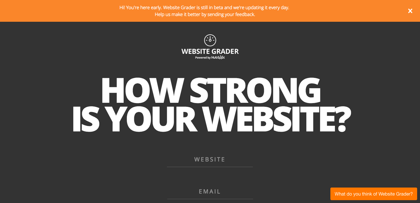 HubSpot's Website Grader, a basic SEO tool for site analysis