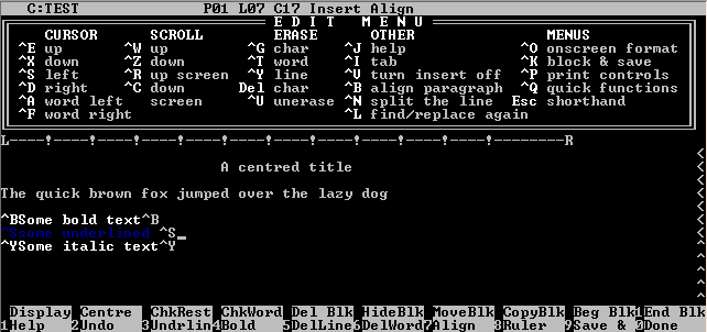 WordStar, a WYSIWYG word processor from MicroPro