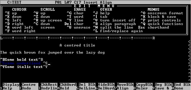 WordStar, a WYSIWYG word processor from MicroPro