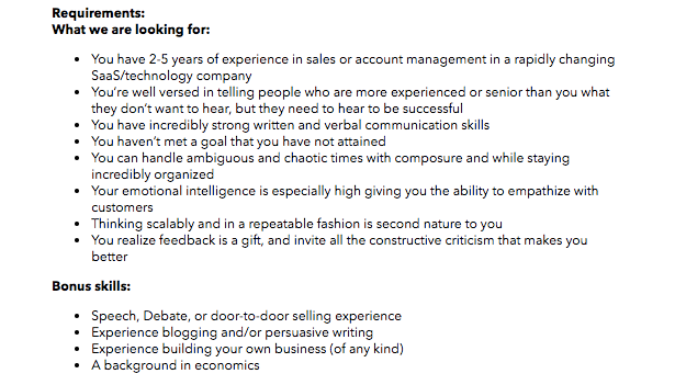 example of a strong job description sales hiring account executive