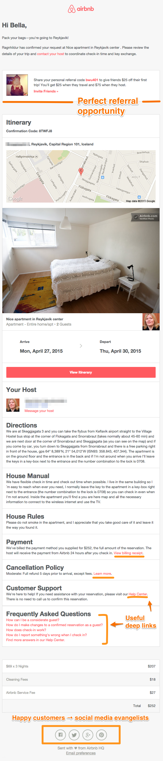 Airbnb's reservation confirmation email