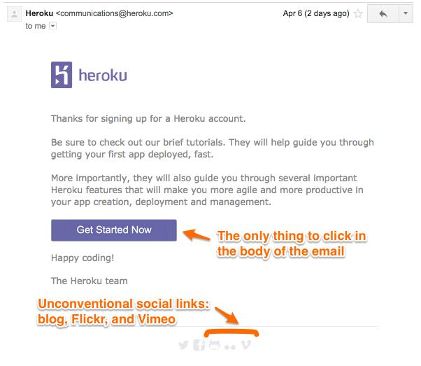 Heroku's welcome email
