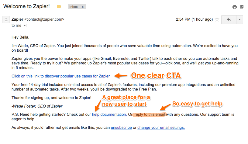 Zapier's welcome email