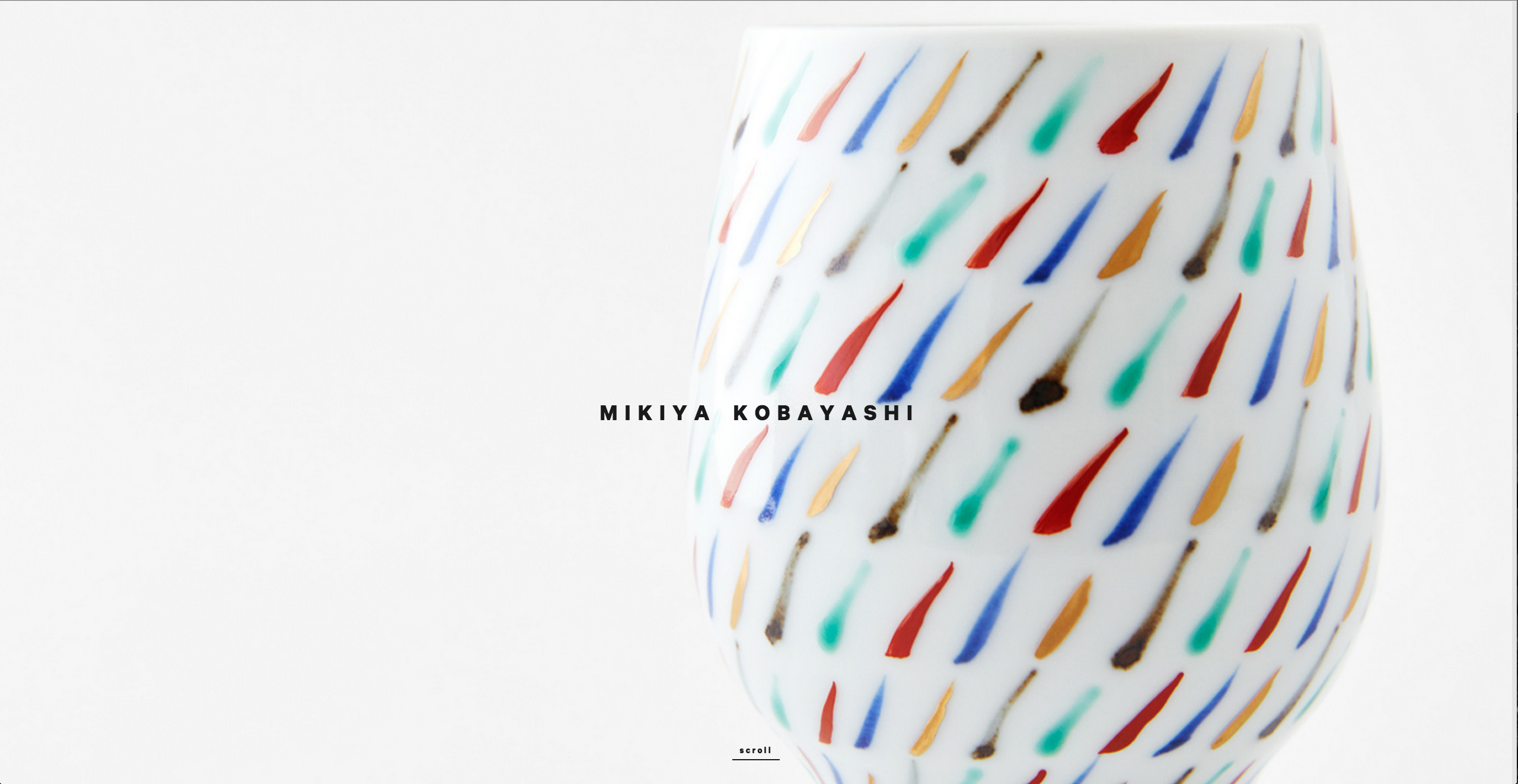 Homepage of Mikiya Kobayashi, an award-winning website