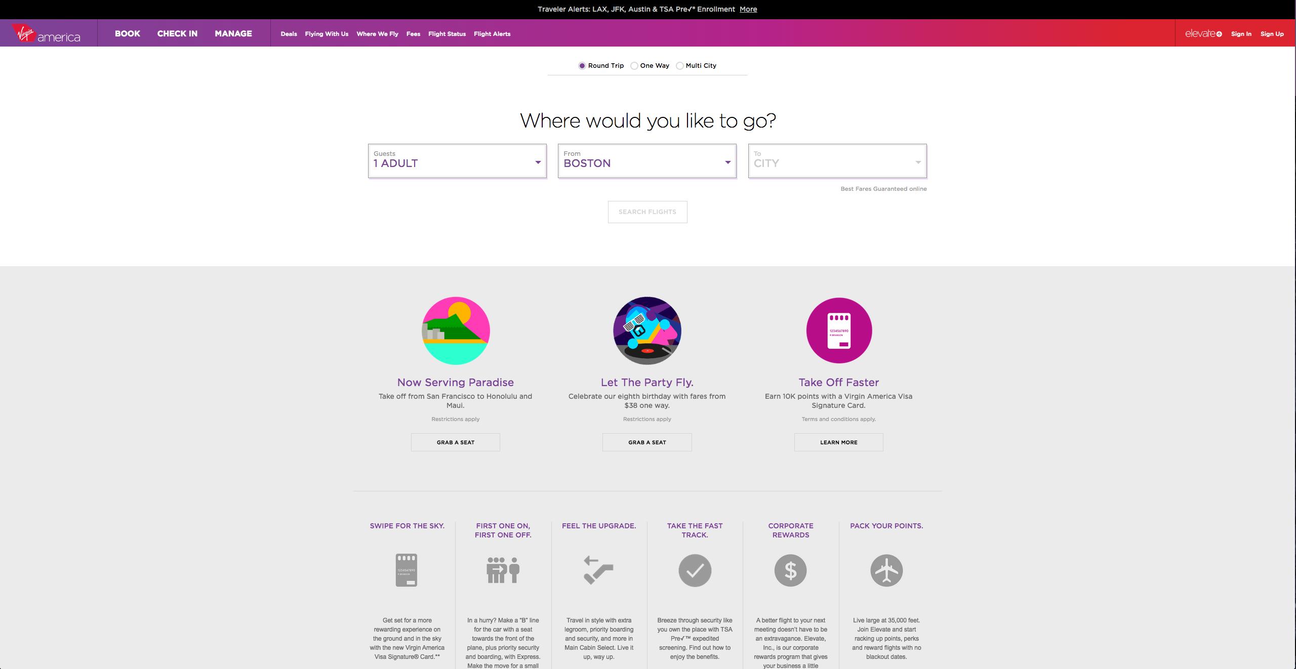 Homepage of Virgin America, an award-winning website
