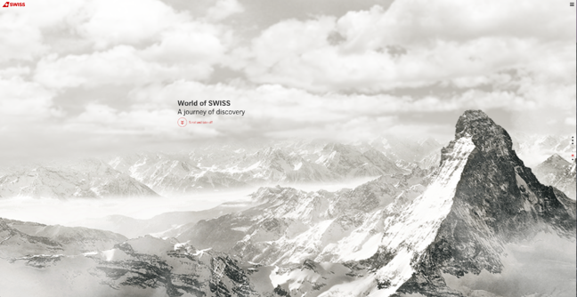 Homepage of World of SWISS, an award-winning website