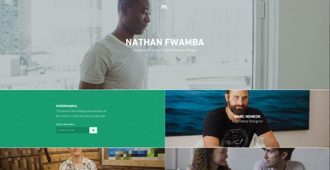 Página de inicio de Minimums, un diseño de sitio web genial