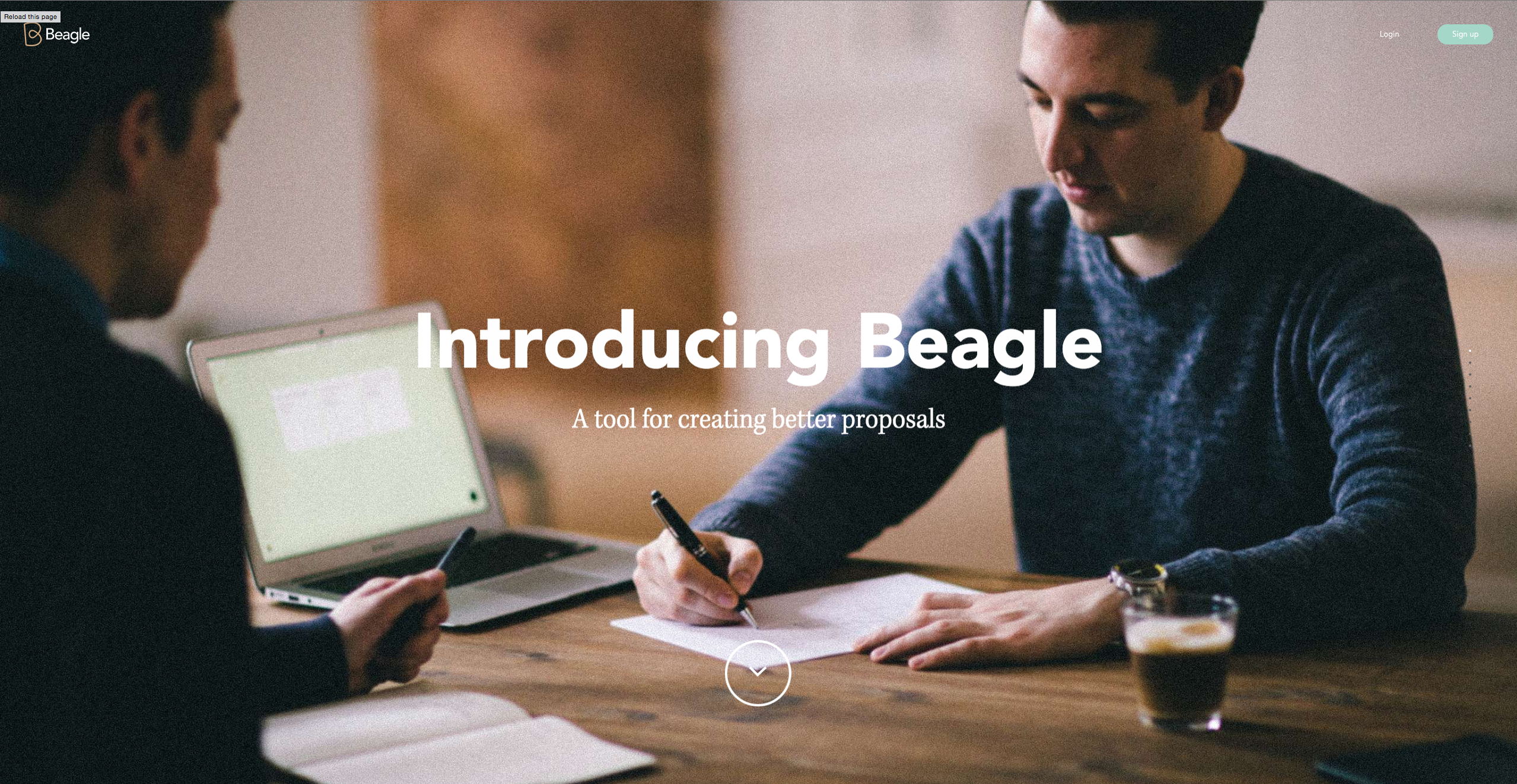 Homepage of Beagle, an award-winning website