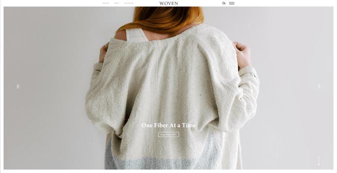 Página de inicio de Woven Magazine, Los mejores diseños de páginas web 2021