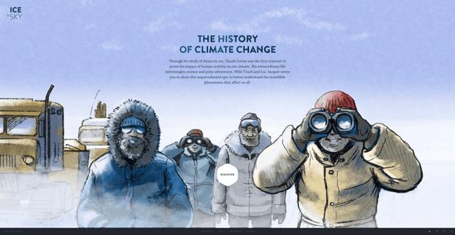Página de inicio de La historia del cambio climático, Los mejores diseños de páginas web 2021