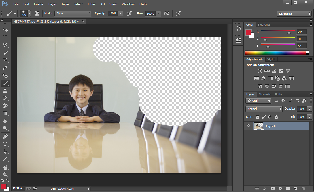 Brush method of removing background from photo in Photoshop