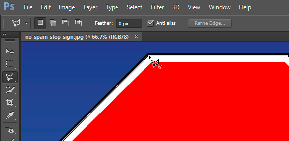 Connected cursor used to remove background from photo in Photoshop