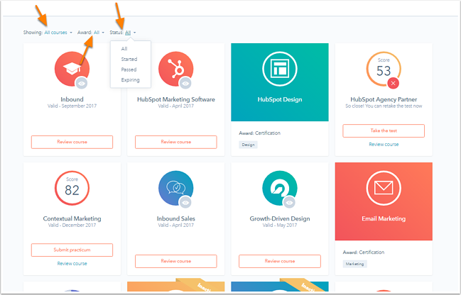 hubspot-academy-learning-center-sorting-filtering.png