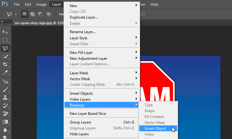 Rasterize option to remove background from photo in Photoshop