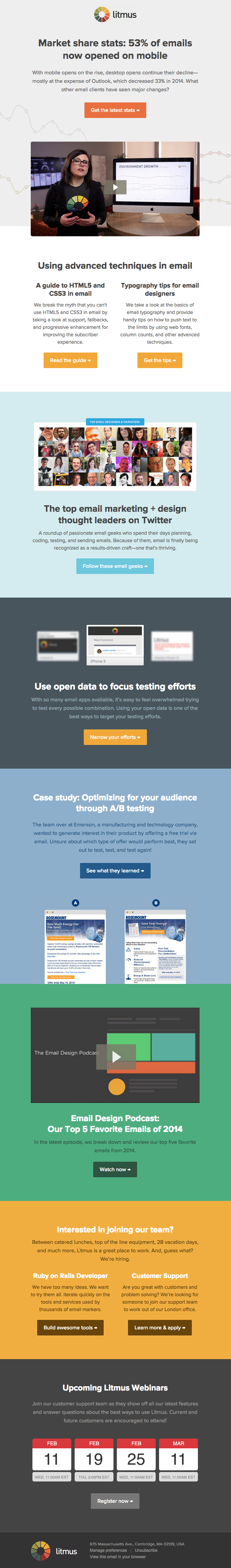 Litmus email with strong CTA and body copy design