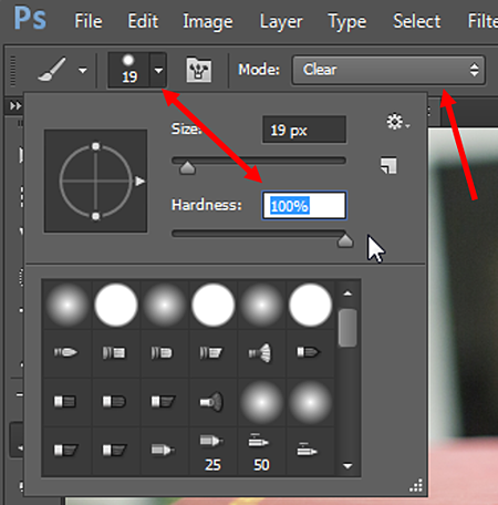 Size and Hardness option in Photoshop
