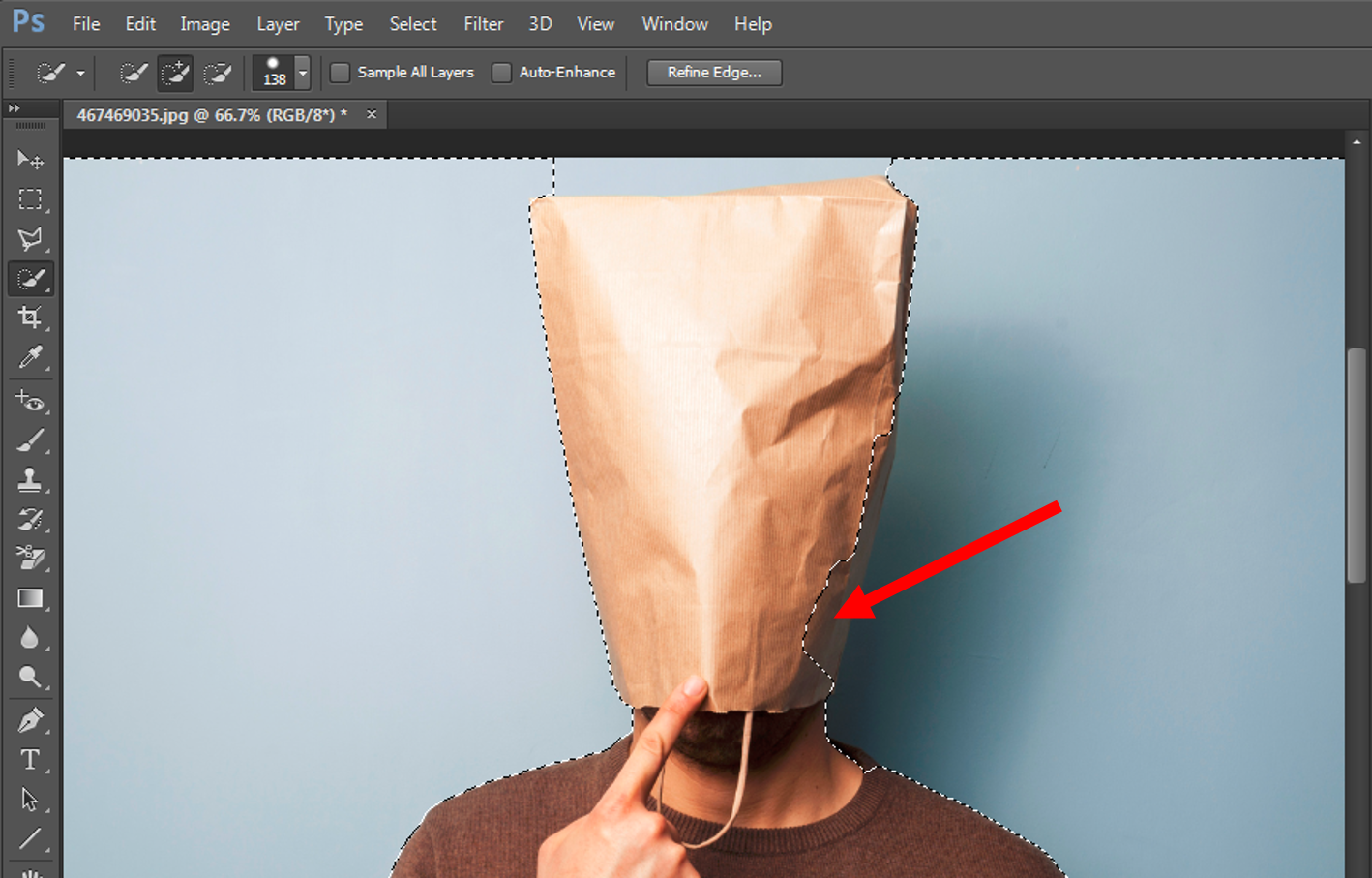 Subtract From Selection option in Photoshop