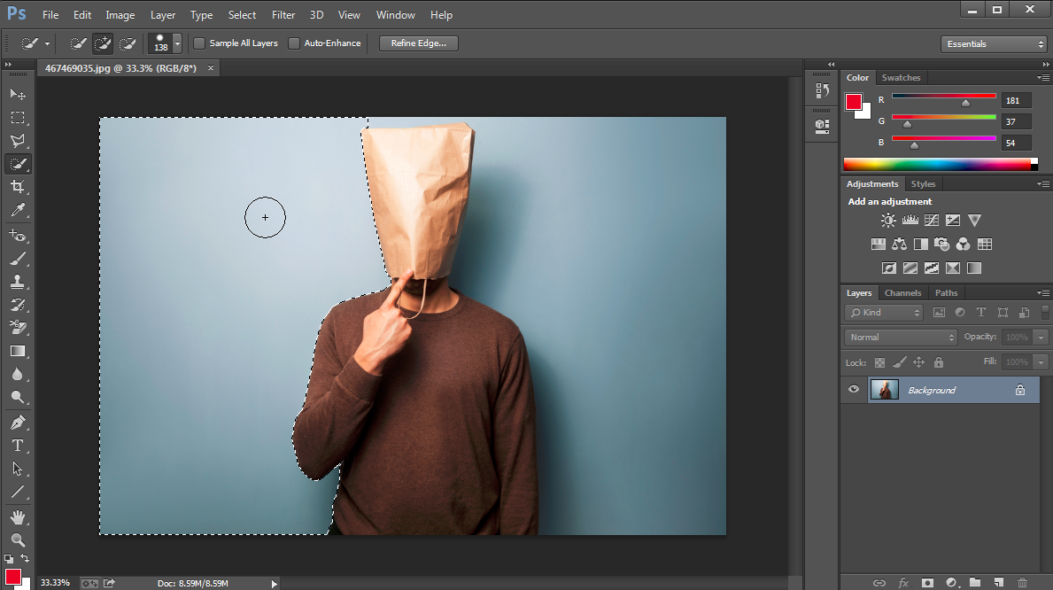 Quick selection to remove background from photo in Photoshop