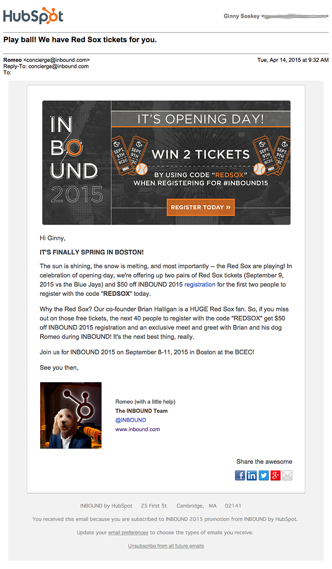 HubSpot email with sender name personalization