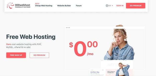 000webhost free blog hosting site