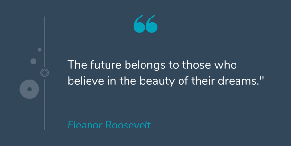 Eleanor Roosevelt famous quote of all time that says the future belongs to those who believe in the beauty of their dreams