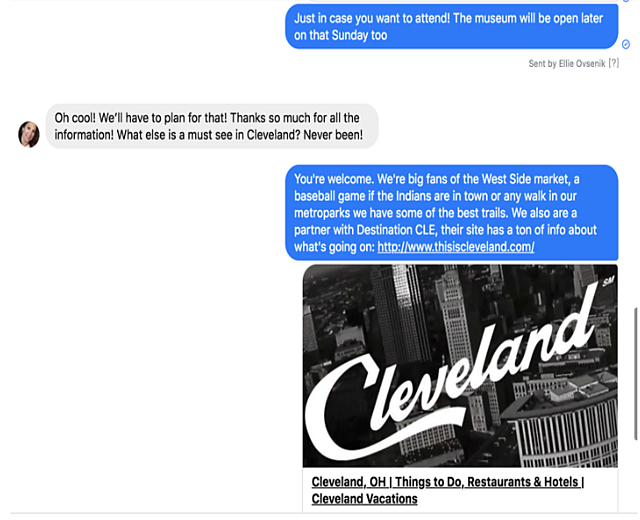 Rock & Roll Hall of Fame Social Media Team responds to Facebook Messenger messages