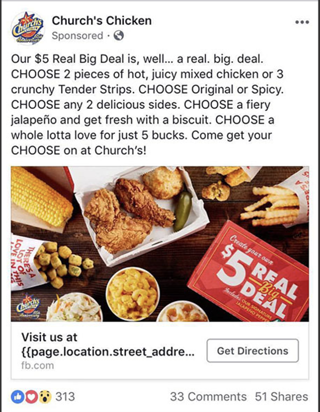 Church Chicken Facebook ad highlighting location