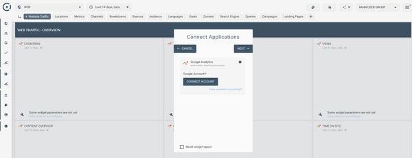 Octoboard Google Analytics Integration window