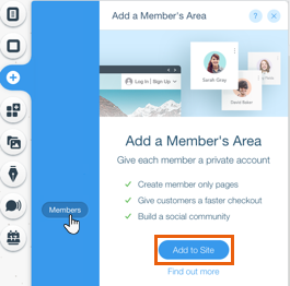 Image text says add a members area with a free membership website builder.