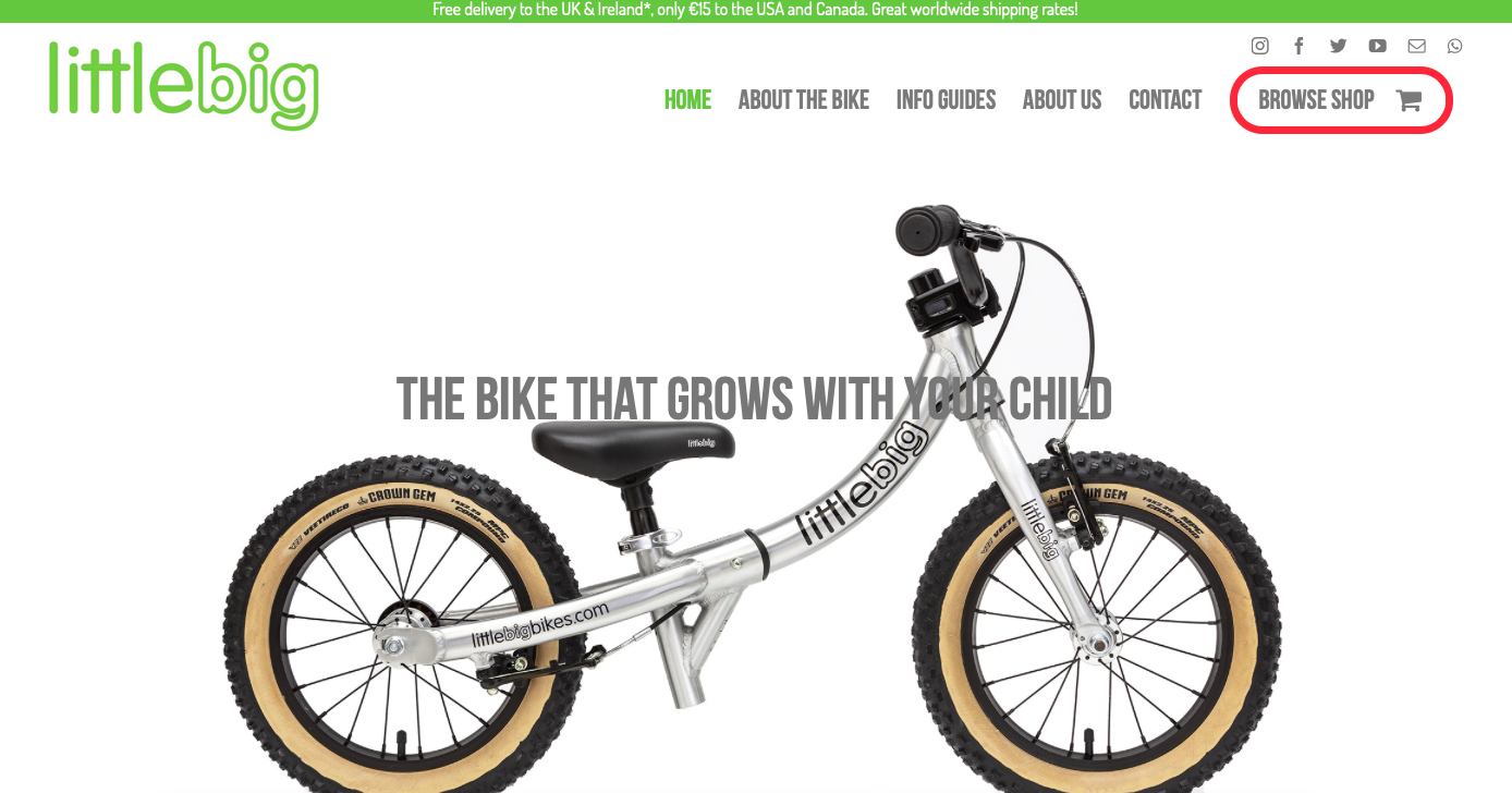 LittleBig Bikes integrates the Avada theme on its website.