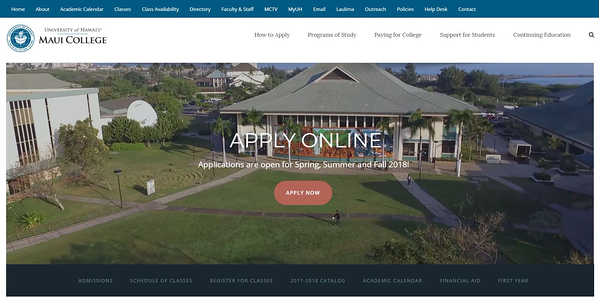 The University of Hawaii Maui College - avada theme example with video background