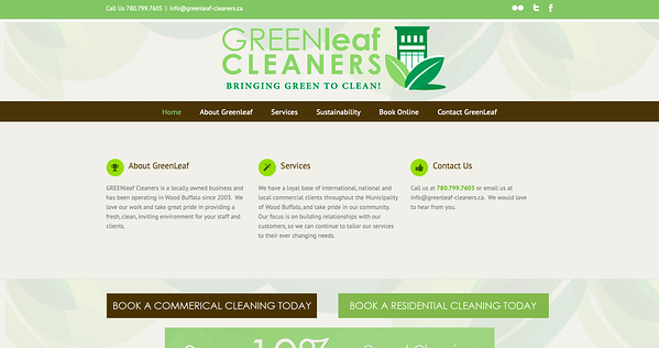 The Green Leaf Cleaners website - avada theme example