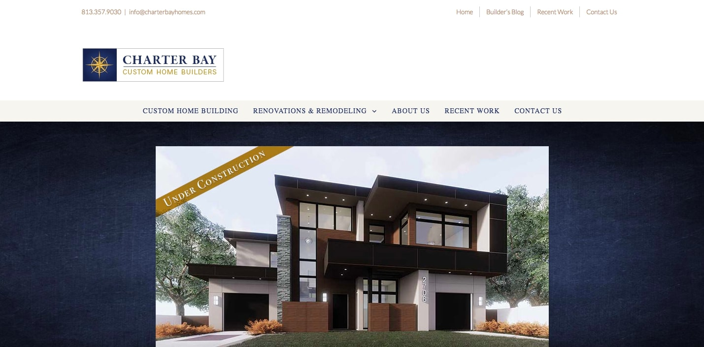 Charter Bay Homes uses the Avada theme to display an eye catching banner image.