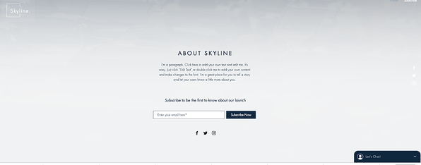 Under the fold of Skyline Landing Page from Wix