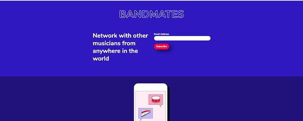 Bandmates Landing Page from Mailchimp