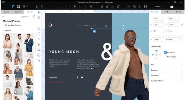 免费的网页设计工具Lunacy editor