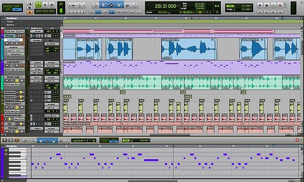 Pro Tools audio track editing software.