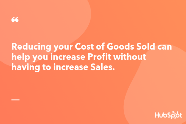 reduce your cost of goods to increase profit without increasing sales