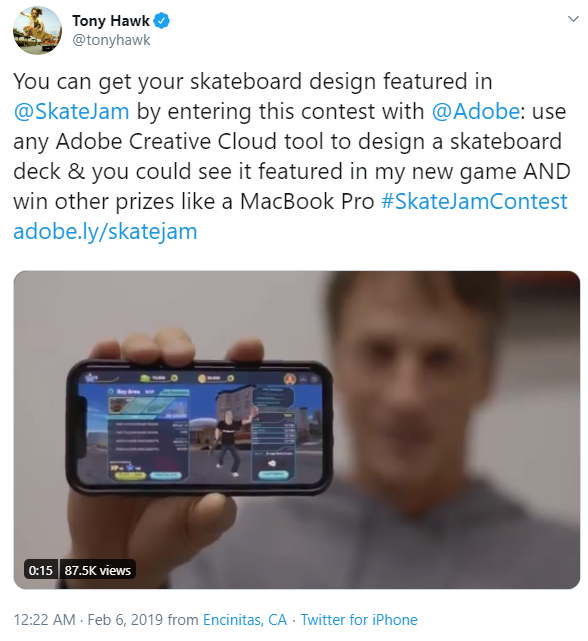 Tony Hawk's creativity contest on Twitter