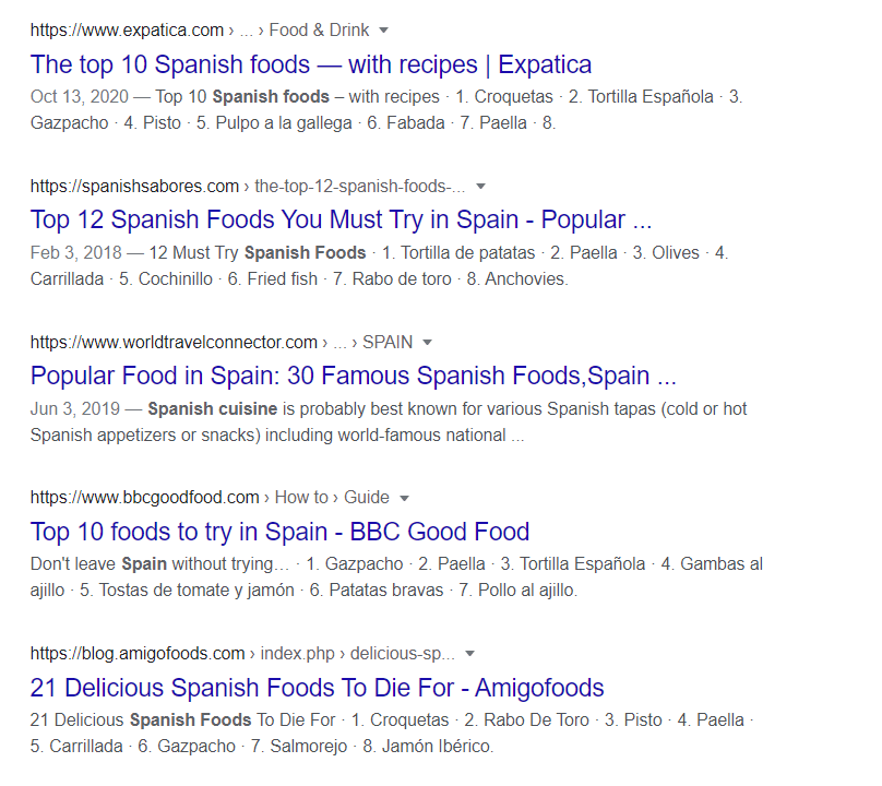 example of meta descriptions on the SERPs page